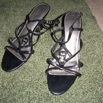 Etienne Aigner Black Leather Strappy Wedge Sandal Shoe Size 10 M Signature a on  Photo