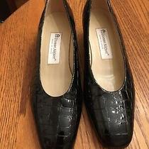 Etienne Aigner Black Patent Leather Croc Pumps Size 8.5 Elegant Photo