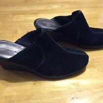 Etienne Aigner Black Suede Leather Mules Shoes Slides Wedge Heel Ladies Size 7 Photo