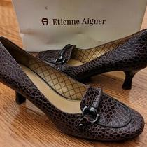 Etienne Aigner Bruno Sz 7.5m Brown Baby Croc Leather Pumps Heels Shoes Euc Photo