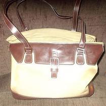 Etienne Aigner Canvas Brown Trim Satchel Handbag Shoulderbag Purse Photo