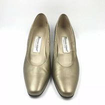 Etienne Aigner Gold Pumps Size 7.5 M Made in Spain 2.5 Heel Photo