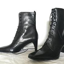 Etienne Aigner Lace-Up Boots Black Sz 10 Gently Worn Photo