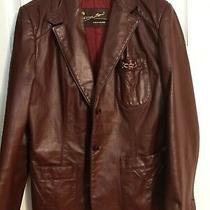 Etienne Aigner Leather Blazer. Size Large. Burgundy in Color. Great Condition Photo