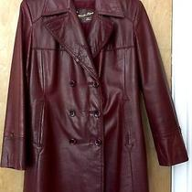 Etienne Aigner Leather Coat Jacket Sz 12 Vtg Womens Burgundy Double Breasted Photo