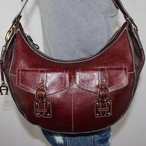Etienne Aigner Medium Brown Leather Shoulder Hobo Tote Satchel Slouch Purse Bag Photo