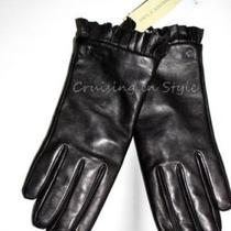 Etienne Aigner New Gloves Nwt 100% Cashmere Lined Ladies Black Leather Gloves S Photo