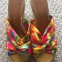 Etienne Aigner Tie Dye Espadrille Wedges 9 M Fabric Yellow Red Sandals Heels Euc Photo