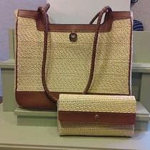 Etienne Aigner Woven Straw Handbag With Matching Wallet Photo