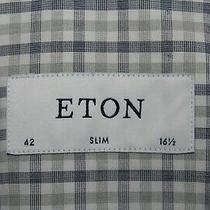 Eton Men's 42 / 16.5 Slim Blue-White-Green Cotton Brighton Dress Shirt Photo