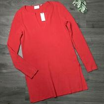 Etttwa Size Small Nwt Red Ribbed Tunic Sweater Photo