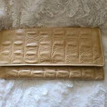 Etui London Beige Leather Mock Croc Convertible Envelope Clutch W/ Chain Strap  Photo
