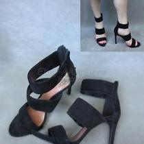 Euc149 Vince Camuto Black Suede Leather Strappy Open Toe Heels Shoes 10m Photo