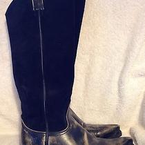 Euc 398 Frye Antique Black Suede Boots - 6m Photo