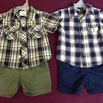 (Euc) 4 Piece Baby Boys Size 6-12 Months Outfits/tops With Shorts Photo