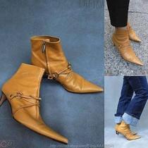Euc558 Sergio Rossi Beige  Leather Ankle Boots 41eu/9.5-10us Photo