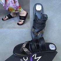 Euc99 Donald Pliner Dmsx Black Pebble Gold Metallic Strap Thong Flats Shoes 10m Photo