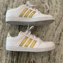 Euc Adidas Grand Court Women's Youth Sneakers Gold/white Size 4 Photo