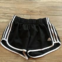 Euc Adidas Womens Climalite 3 Energy Running Shorts Black White Stripes Small  Photo