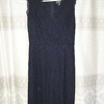 Euc Adrianna Papell Navy Lace Sleeveless Dress Size 2  Scallop Whisker  Photo