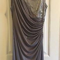 Euc Adrianna Papell Sequin Jersey Drape Dress Graphite Sleeveless 18w Photo