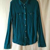 Euc Aeropostale Teal Juniors Size Large Collar Button Up Long Sleeve Knit Shirt Photo