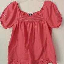 Euc American Eagle Outfitters Women Blouses Size 0 Embroidered Orange Cotton Photo