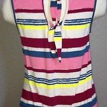 Euc Anthropologie Deletta Painted Stripes Open Back Top Size S Photo