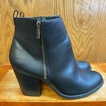 Euc Attention Auden Black Side Zipper Heeled Booties Women's Size 9 Photo