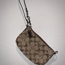 Euc Authentic Coach Signature Brown Purse Handbag Wristlet Photo