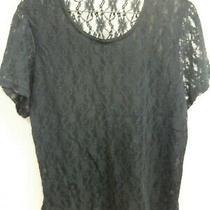 Euc Avon Intimates Short Sleeve Black Lace Top Size Xl See Through Back Photo