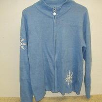 Euc Avon Ladies Zip Front Sweater Size Xl 18 Blue W/ White Snowflake Design  Photo
