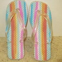 Euc Avon Rainbow Flip Flops Sandals Blue Pink Orange Yellow  Size Large 9-10  Photo