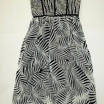 Euc Azalea Dress by Parker - Black & White Palm Frond Print Strapless - Sz S Photo