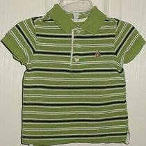 Euc Baby Gap Boys Green Blue & White Striped Bear Logo Polo Shirt 6-12 M Photo