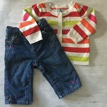 Euc Baby Gap Girl Striped Ls Carnigan & Lined Jeans Outfit  3-6 Months Photo