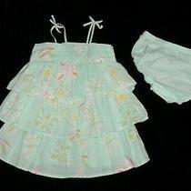 Euc Baby Gap Girls Bahia Blue & White Floral Tiered Ruffle Dress 12-18 M Vhtf Photo