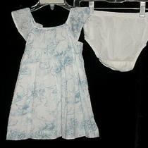 Euc Baby Gap Girls Pond Life White Blue Swiss Dot Duck Floral Dress 6-12 M Vhtf Photo