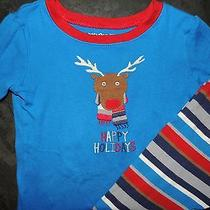 Euc Baby Gap Happy Holidays Rudolph Reindeer Applique Pajamas 2t Photo