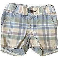 Euc Baby Gap Outlet Boys Green Navy Blue Brown & Ivory Plaid Shorts 6-12 M Photo