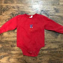 Euc Baby Gap Size 2 Boys One Piece Long Sleeve Shirt Red With Dog Doggie Snack Photo