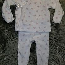 Euc Baby Girls Ralph Lauren Teddy Bear Themed 2 Pc Kimono Footed Pants & Top Set Photo