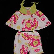 Euc Baby Lulu Girls Pink & Green Floral Paisley Swing Top and Short Set 12 Month Photo