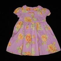 Euc Baby Lulu Girls Rising Sun Purple With Yellow Roses Floral Dress 18 Months Photo