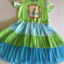 Euc Baby Lulu Green and Aqua Blue Floral Ruffle Bird Framed Tiered Tutu Dress 3t Photo