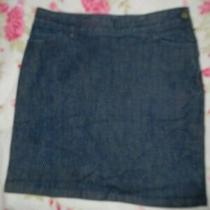 Euc Banana Republic Blue Stretch Denim Jean Straight Skirt 10 Photo