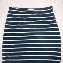 Euc Banana Republic Navy Blue Ivory Striped Stretch Short Skirt 4 Photo