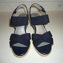 Euc Bandolino Navy Wedge Sandals Size 8.5 Photo