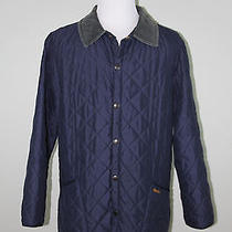 Euc Barbour Men's 'Eskdale' Navy Blue Diamond Quilted Barn Field Jacket Large L Photo
