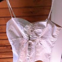 Euc Bebe Beige Pinstriped Lace Print Mother of Pearl Cami Tank Size M Medium Photo